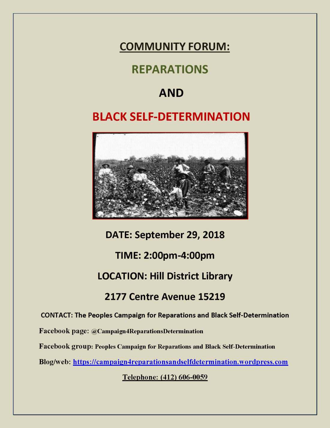 Campaign for Reparations and Self-Determination meeting flyer, 9-29-18