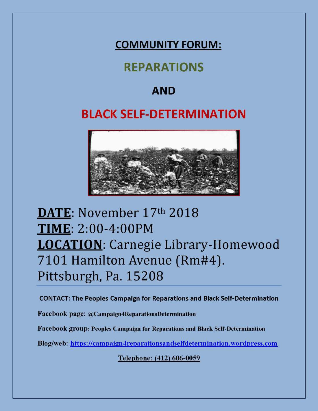Campaign for Reparations and Self-Determination meeting flyer, 11-17-18