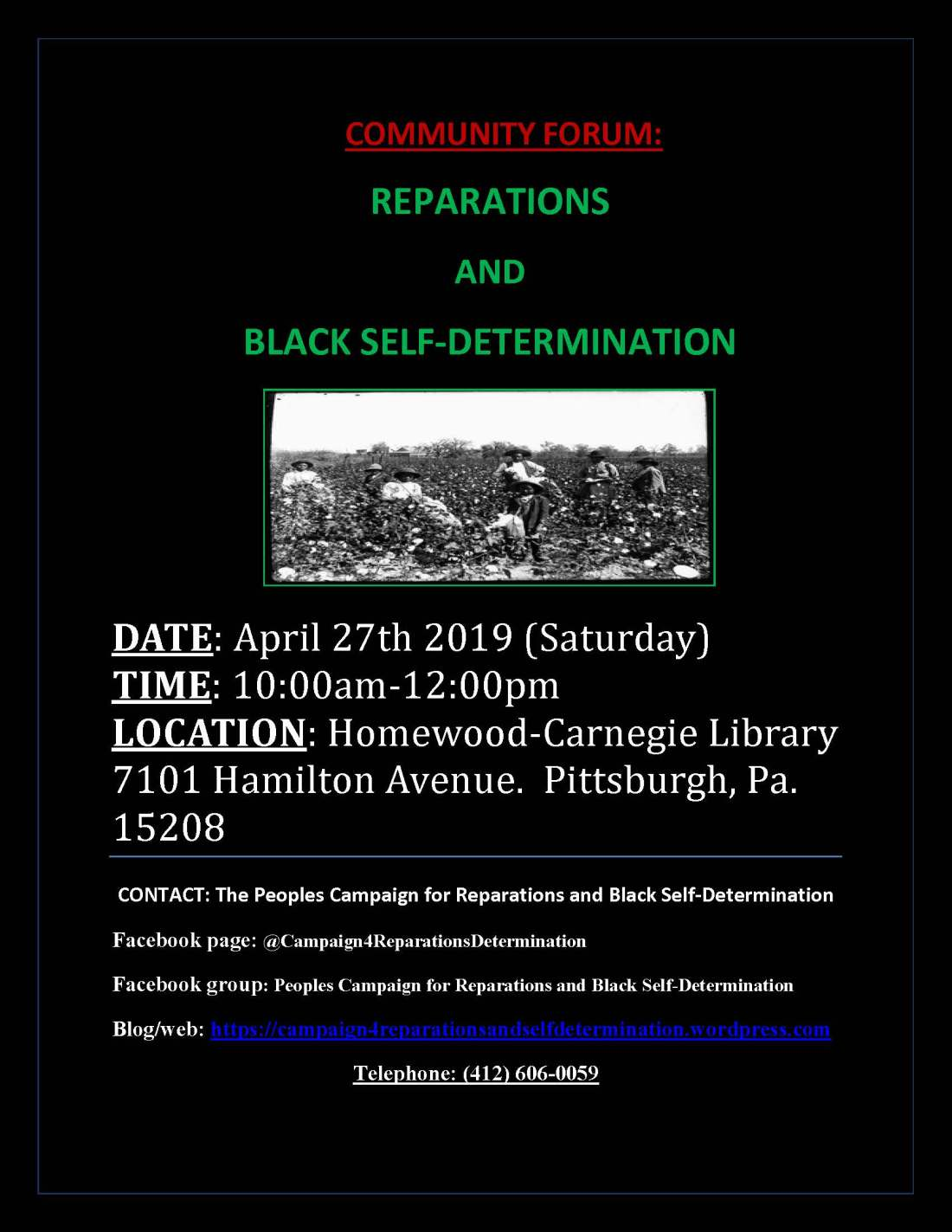 Campaign for Reparations and Self-Determination meeting flyer, 4-27-19