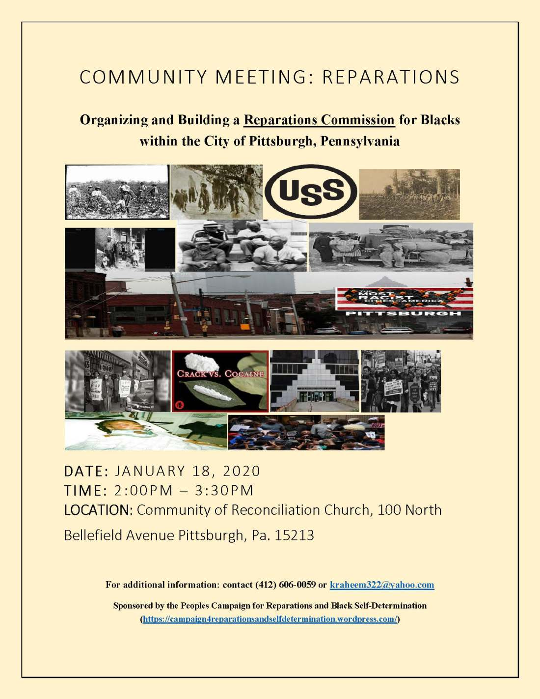 Reparations Commuity Meeting flyer, 01-18-2020